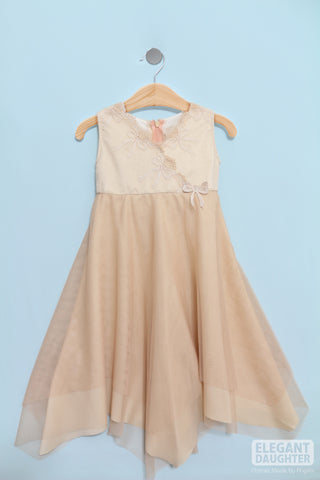 Beige Flower Dress-Baby Dress