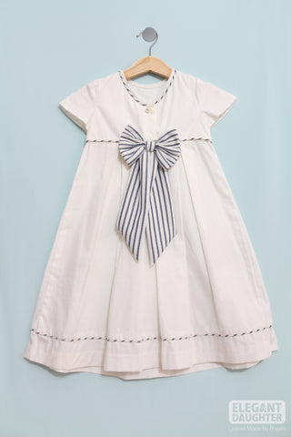 White Dress with Navy Bow
