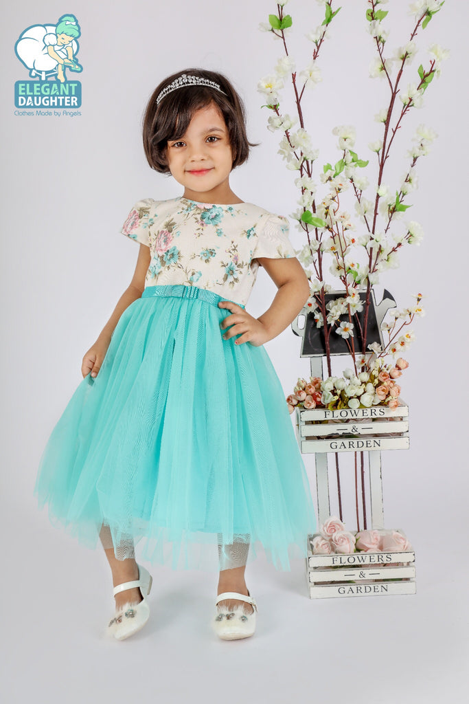 Toddler light Blue Flower Dress