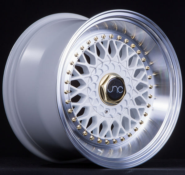 JNC004S White Machined Lip Gold Rivets