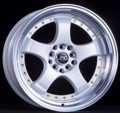 JNC017 Pearl White Machined Lip Gold Rivets