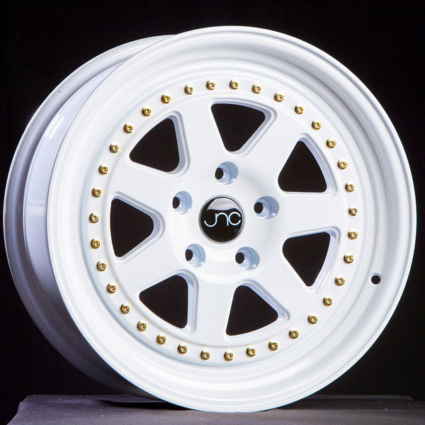 JNC048 WHITE WITH GOLD RIVETS