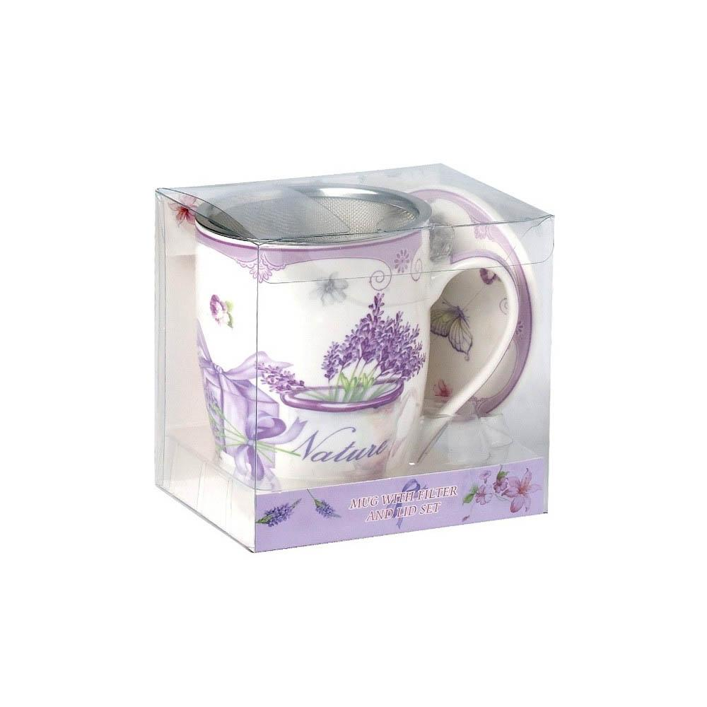 Tea Herb Mug Cup with Infuser and Lid 12fl oz - Lavender 2 | Biokoma.com