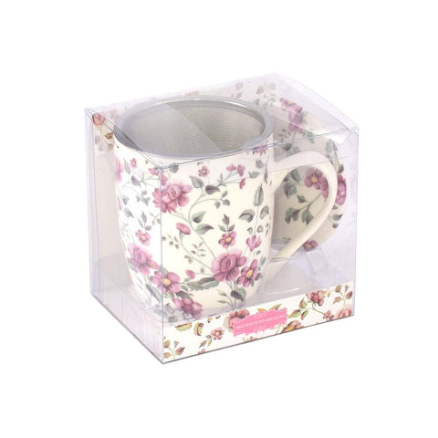 Tea Herb Mug Cup with Infuser and Lid 12fl oz - Pink Flowers | Biokoma.com
