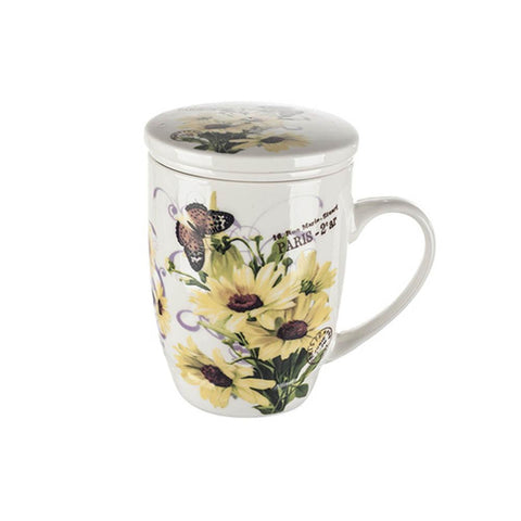 Tea Herb Mug Cup with Infuser and Lid 12fl oz - Sunflower | Biokoma.com