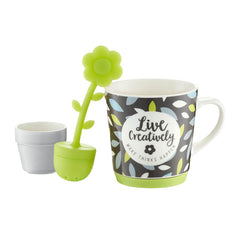 Tea Herb Mug Cup with Stand and Flower Infuser 9.8fl oz - Leaves | Biokoma.com