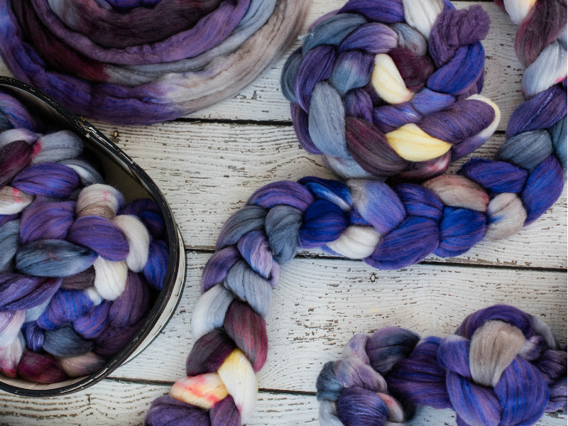 Bluebonnets hand dyed Organic Polwarth Silk wool roving