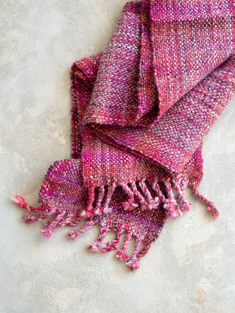 'Strawberry Hopscotch' Handwoven Scarf