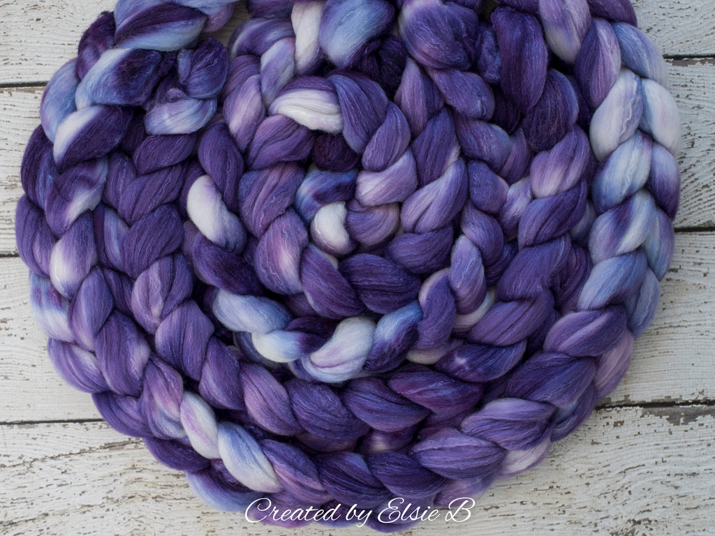 Organic Polwarth/ Silk 'Deep Purple' 4 oz