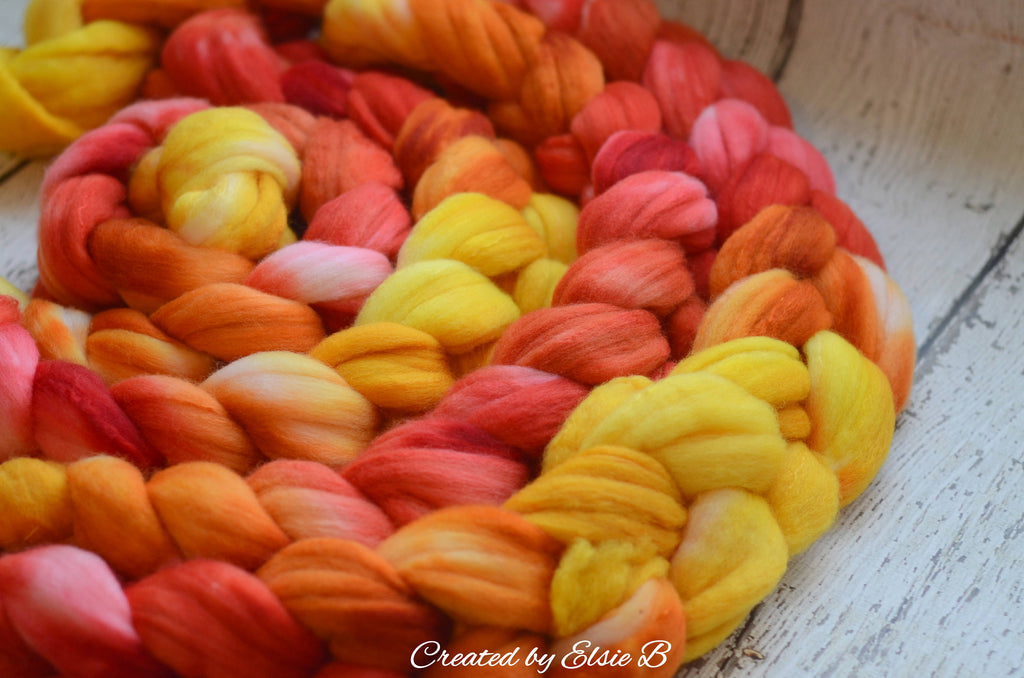 Polwarth/ Silk 'Phoenix' 4 oz yellow spinning fiber, orange wool roving by the pound, Created by Elsie B red combed top, wool & silk roving