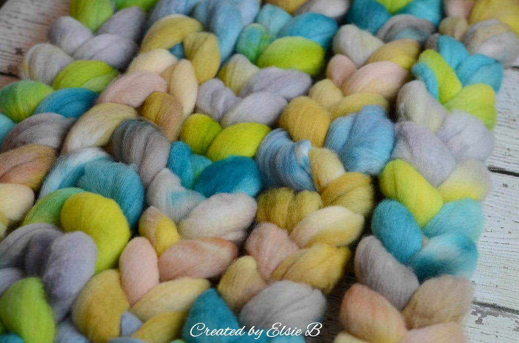 Polwarth 'Sunshine Daydreams' 4 oz combed top for spinning, CreatedbyElsieB spinning fiber, wool by the pound, hand dyed roving