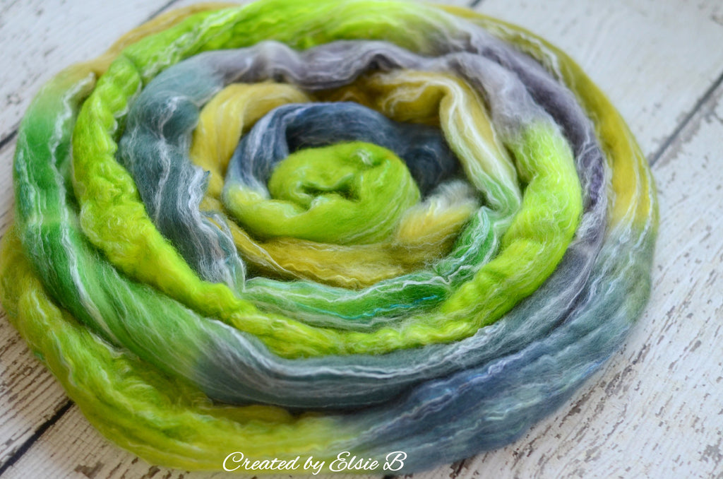 Corriedale/ Bamboo/ Silk 'Huntin' Gators' 4 oz Created by Elsie B hand dyed navy combed top, spinning fiber, green wool roving for spinning