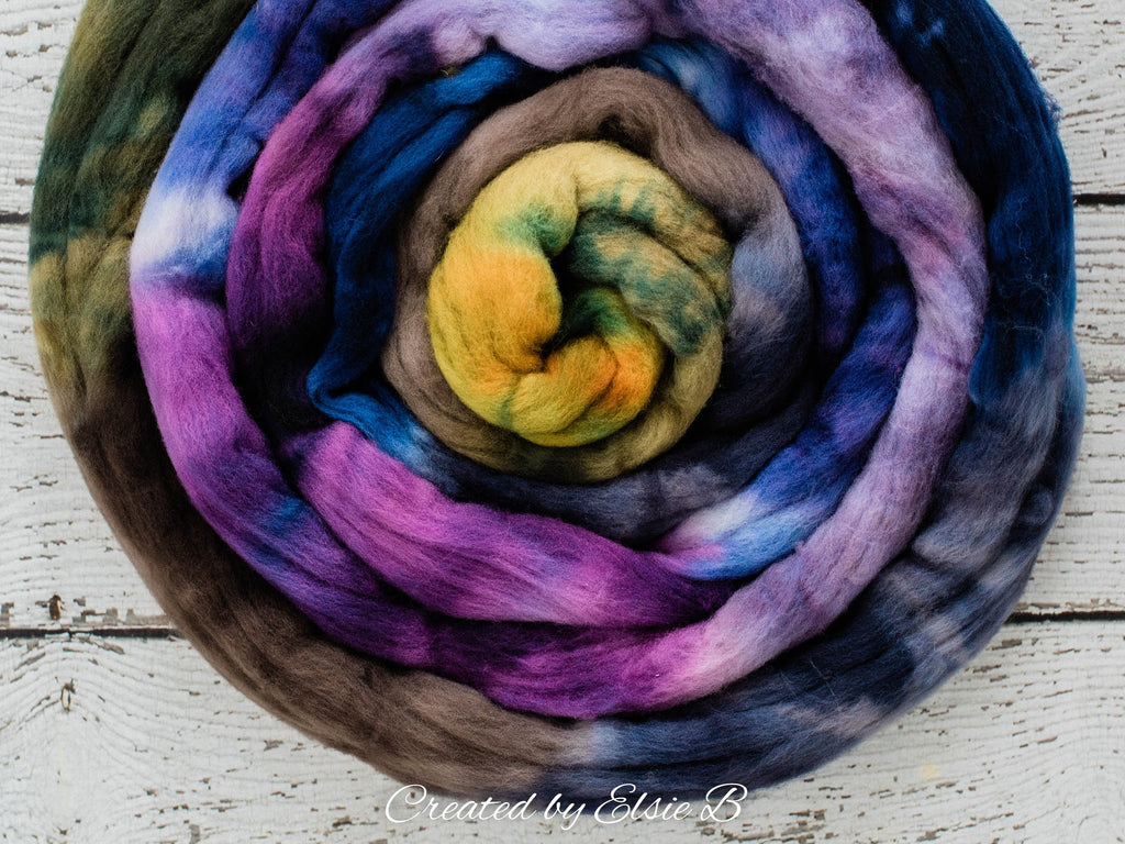 Targhee 'Grapevine' 4 oz hand dyed spinning fiber, purple dyed roving by the pound, Created by Elsie B brown combed top, blue wool roving