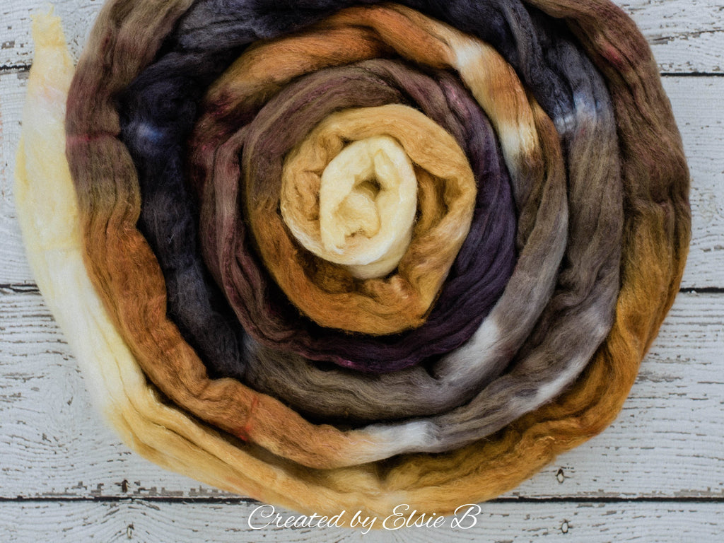 Organic Polwarth/ Silk 'Burnt S'mores' 4 oz spinning fiber, black wool silk roving, tan hand dyed wool, Created by Elsie B brown combed top