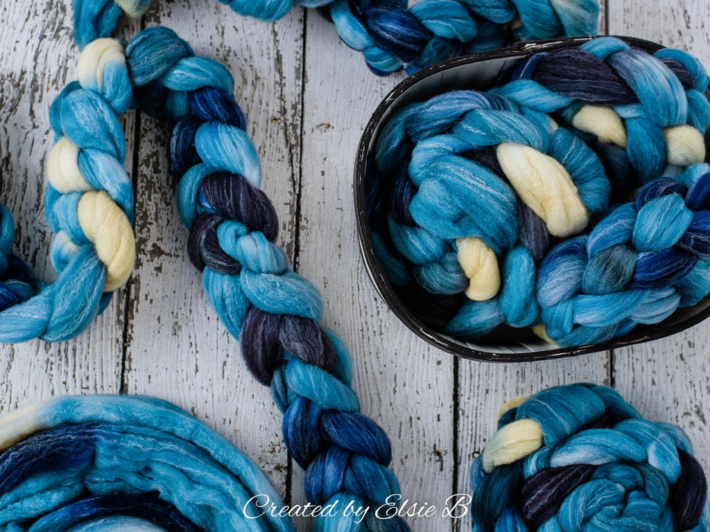 SALE*** Targhee/ Bamboo/ Silk 'Indian Saree' 4 oz hand dyed wool roving for spinning, Created by ElsieB spinning fiber, blue wool combed top