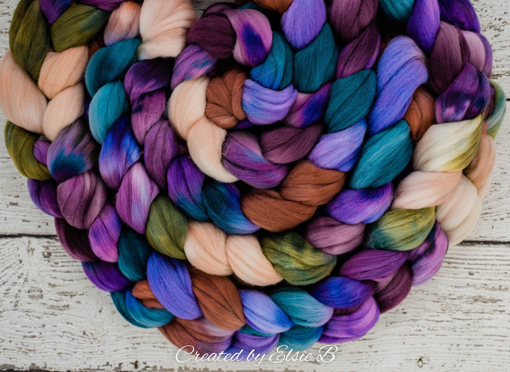Rambouillet 'Fairy Garden' 4 oz combed top, purple spinning fiber, blue hand dyed roving, CreatedbyElsieB green wool roving by the pound