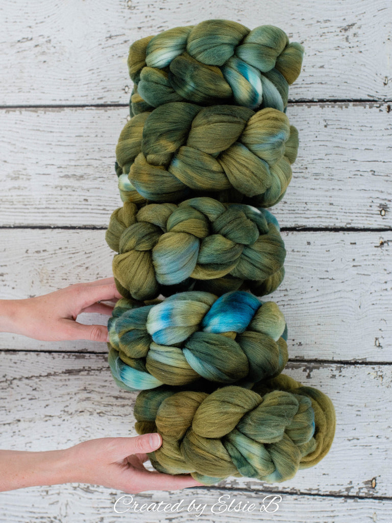 Rambouillet 'Olive Green' 4 oz semi-solid combed top, green spinning fiber, hand dyed roving, CreatedbyElsieB wool roving by the pound