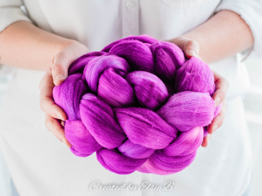 Rambouillet 'Berry' 4 oz semi-solid combed top, purple spinning fiber, hand dyed roving, CreatedbyElsieB wool roving by the pound