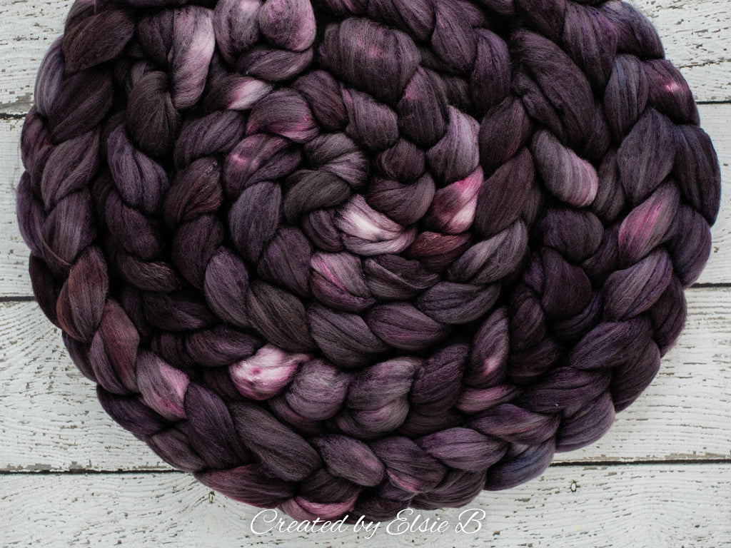 Organic Polwarth/ Silk 'Espresso' 4 oz semi-solid combed top, black spinning fiber, red hand dyed wool, CreatedbyElsieB wool silk roving