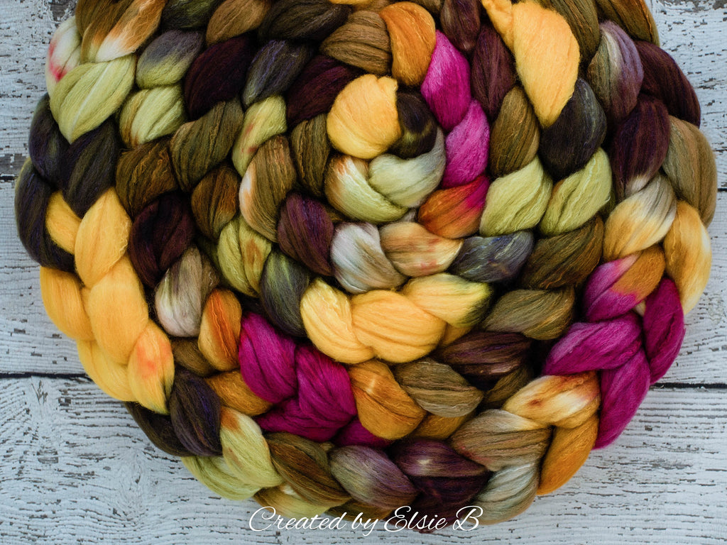 Organic Polwarth/ Silk 'Autumn Bouquet' 4 oz spinning fiber, brown wool silk roving, yellow hand dyed wool, CreatedbyElsieB green combed top