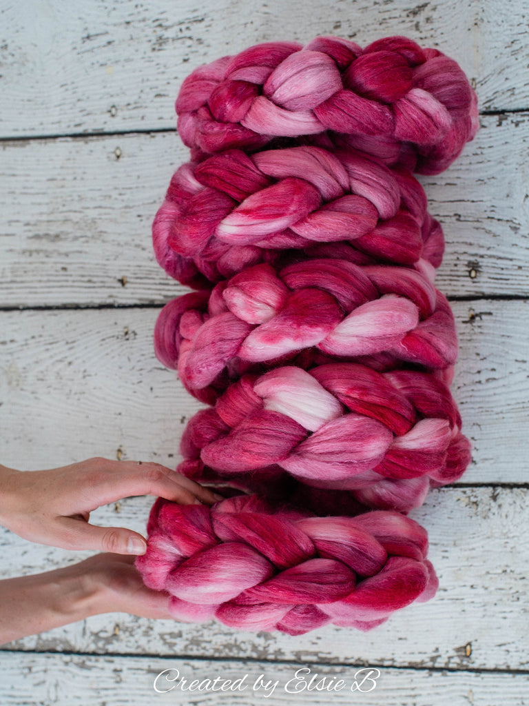 Organic Polwarth/ Silk 'Rose' 4 oz semi-solid pink spinning fiber, hand dyed wool, Created by Elsie B wool silk roving by the pound