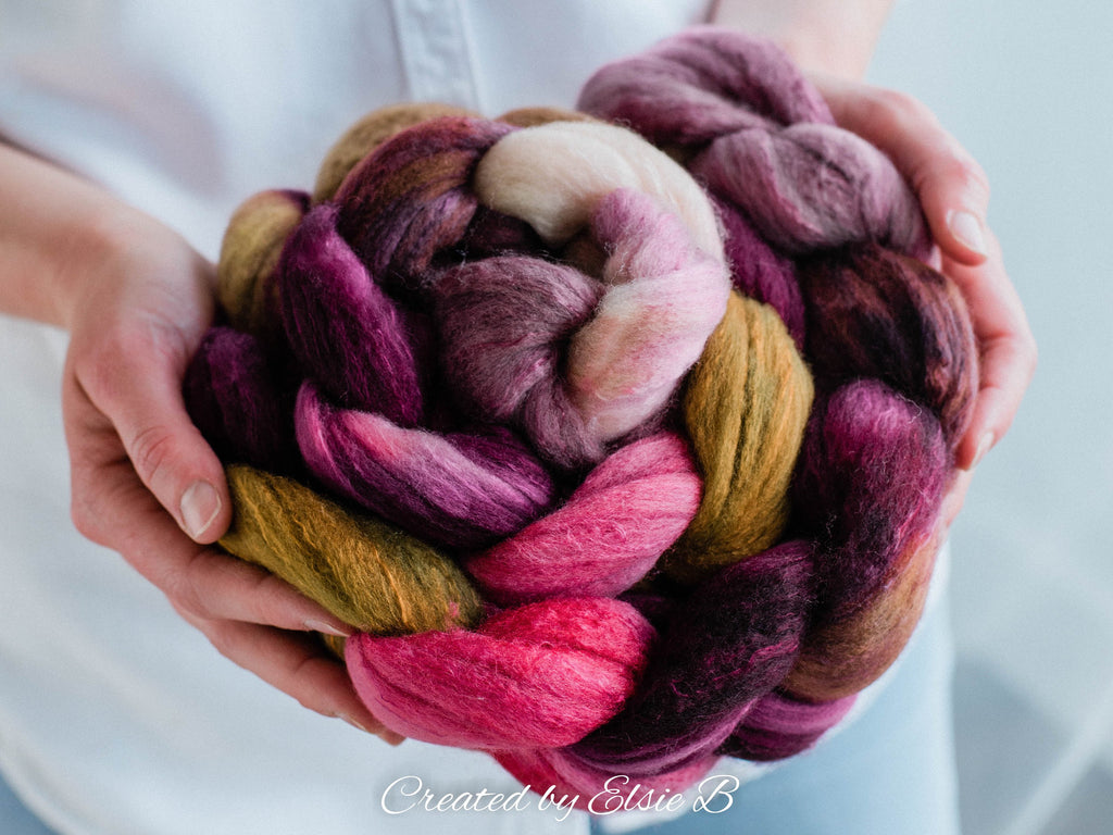 Organic Polwarth/ Silk 'Romance Remembered' 4 oz wool silk roving, pink hand dyed wool, CreatedbyElsieB brown combed top, tan spinning fiber