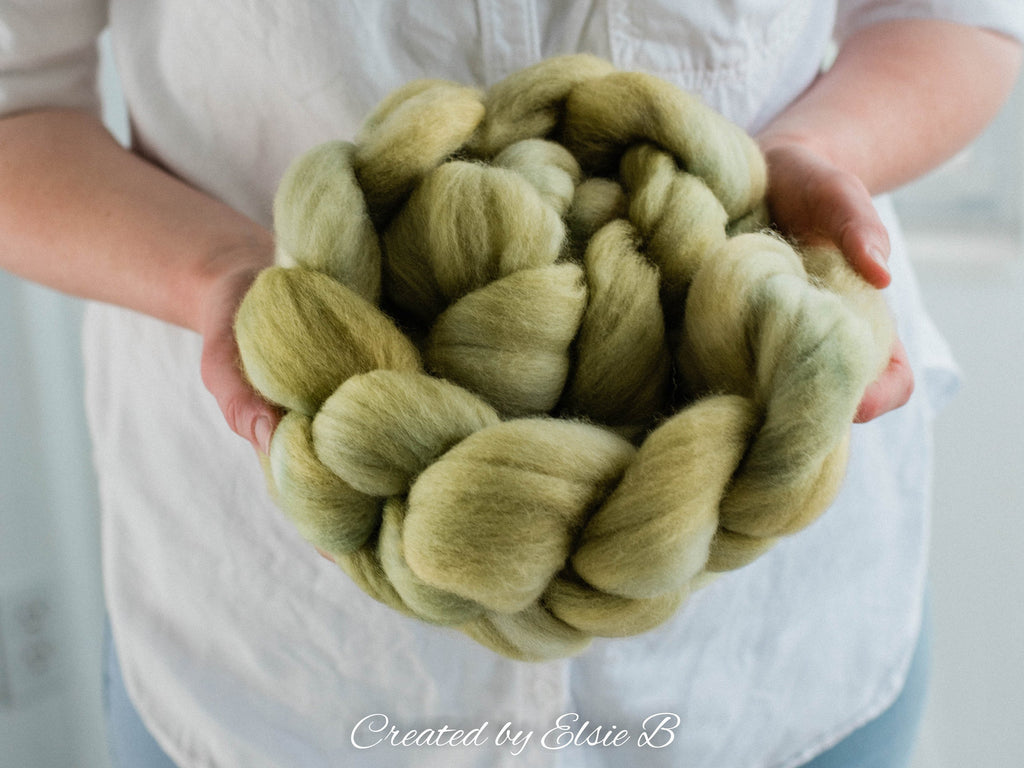 Organic Merino 'Pear' 4 oz semi solid spinning fiber, green dyed roving, CreatedbyElsieB wool combed top, spin roving by the pound