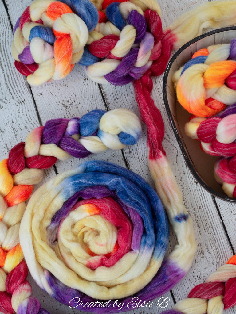 Targhee/ Bamboo/ Silk 'Millefiori' 4 oz spinning fiber, red wool combed top, blue hand dyed wool silk roving for spinning, Created by ElsieB