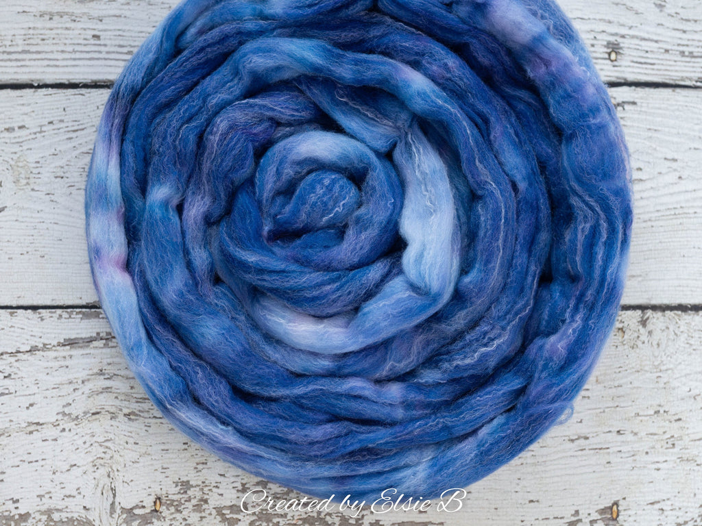 Targhee/ Bamboo/ Silk 'Cornflower Blue' 4 oz semi-solid spinning fiber, hand dyed roving by the pound, Created by Elsie B combed top