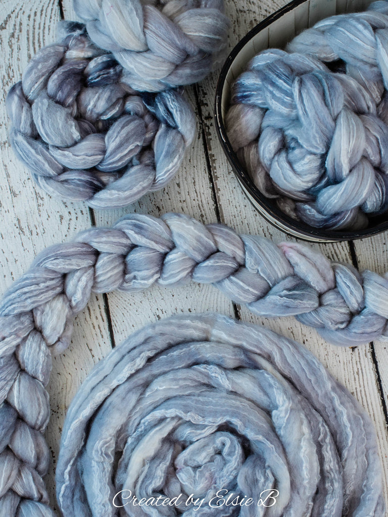 BFL/ Seacell 'Quicksilver' 4 oz semi-solid hand dyed roving CreatedbyElsieB Blue Faced Leicester spinning fiber, wool roving by the pound