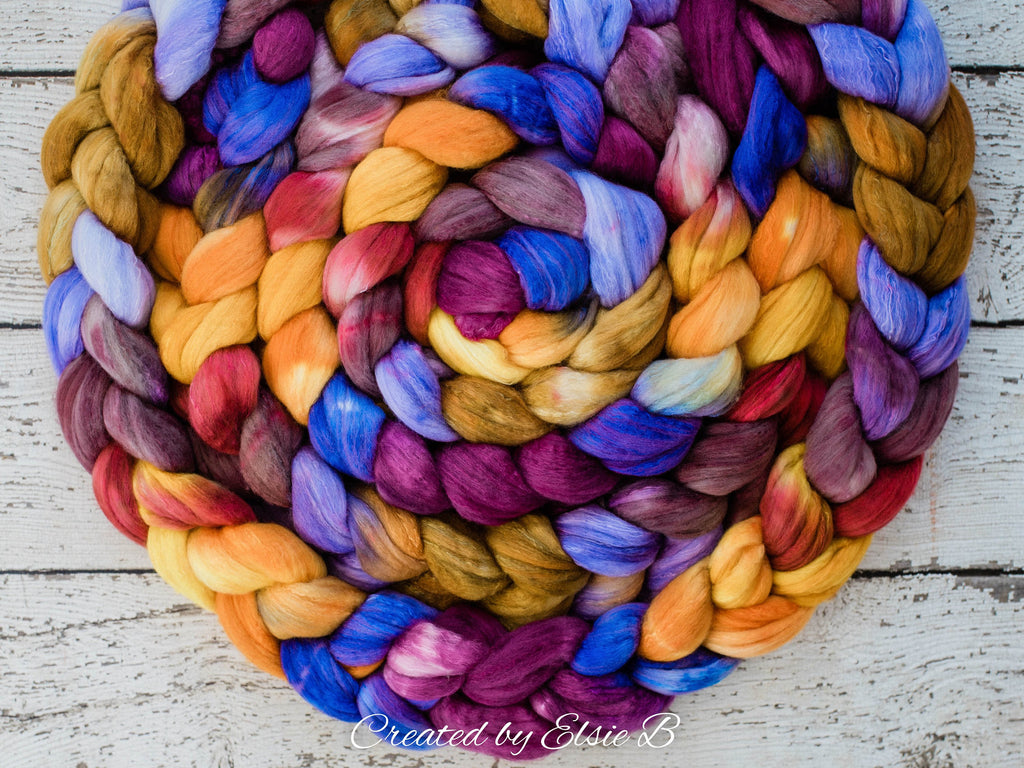 Organic Polwarth/ Silk 'Bird of Paradise' 4 oz hand dyed wool, Created by Elsie B purple combed top, spinning fiber, orange wool silk roving