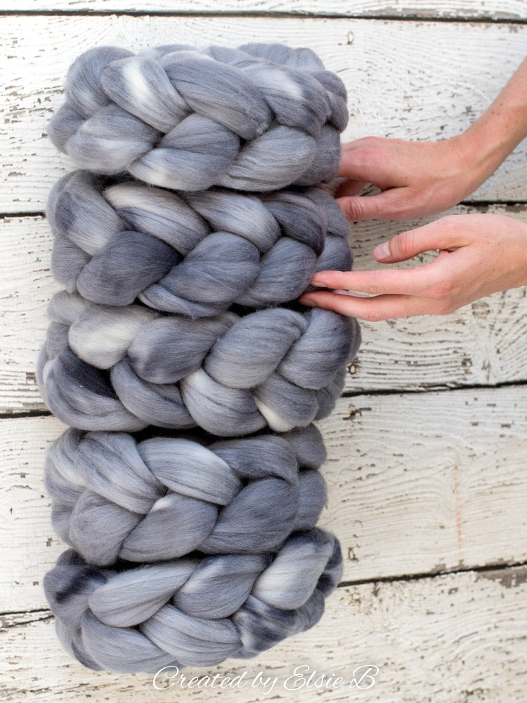 21 micron Merino 'Titanium' 4 oz semi-solid combed top, gray spinning fiber, hand dyed roving, CreatedbyElsieB wool roving by the pound