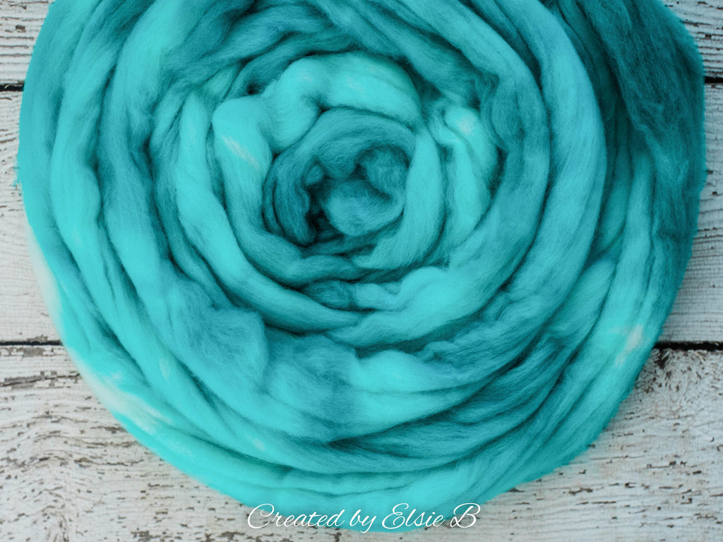 Superwash Merino/ Nylon 'Aquamarine' 4 oz semi-solid merino roving, CreatedbyElsieB superwash roving, hand dyed spinning fiber, combed top