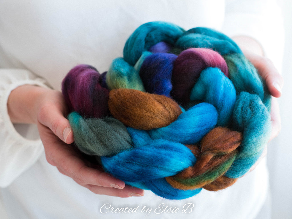 Polwarth 'Heal' 4 oz combed top, blue wool roving by the pound, hand dyed roving, Created by Elsie B purple spinning fiber, learning to spin