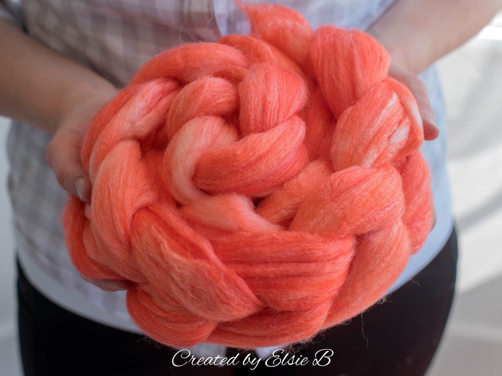 SW Merino/ Bamboo/ Nylon 'Tangerine' 4 oz semi-solid fiber, superwash roving, orange merino combed top, hand dyed roving for spinning