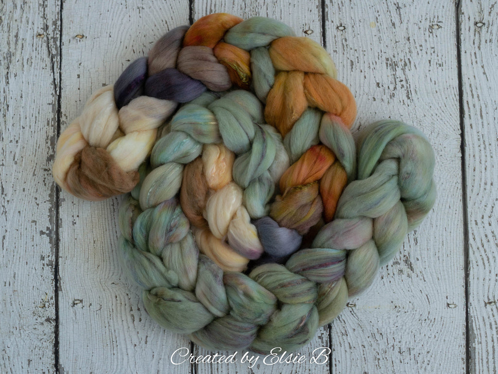Superfine Merino/ Silk 'Fox Den' 4 oz brown hand dyed roving, CreatedbyElsieB spinning fiber, gray combed top, mint wool roving for spinning
