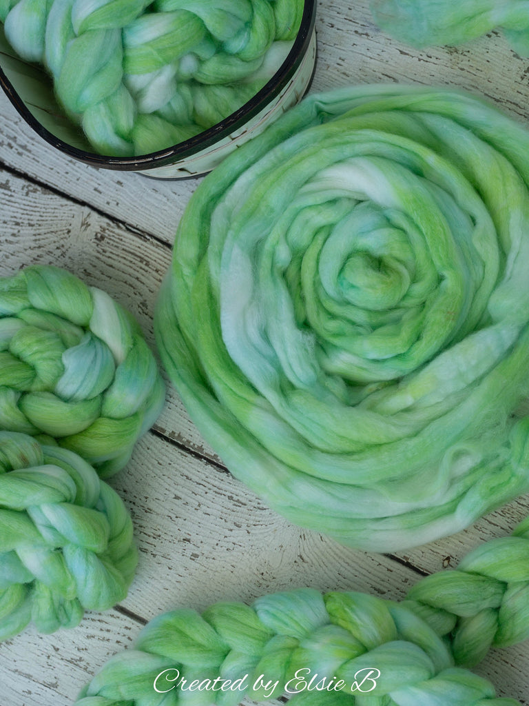 SW Merino/ Bamboo/ Nylon 'Lime Dream' 4 oz semi-solid fiber, superwash roving, green merino combed top, hand dyed roving for spinning