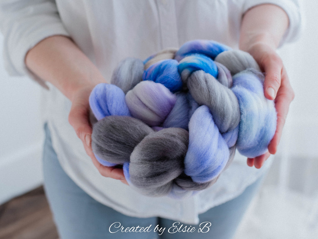 Targhee 'Sugar Plum' 4 oz hand dyed spinning fiber, purple combed top dyed roving by the pound, CreatedbyElsieB combed top, gray wool roving