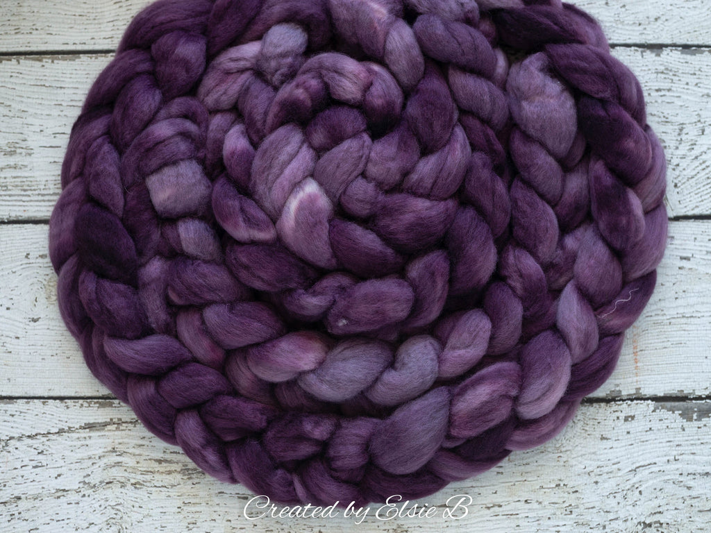 Blue Faced Leicester 'Berry Syrup' 4 oz semi-solid purple combed top, BFL hand dyed top, spinning fiber, CreatedbyElsieB wool roving