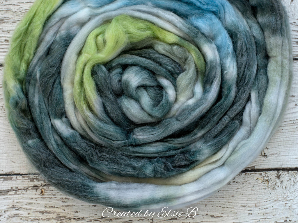 SW Merino/ Bamboo/ Nylon 'Loch Lomond' 4 oz hand dyed roving for spinning, green spinning fiber superwash roving, blue merino combed top