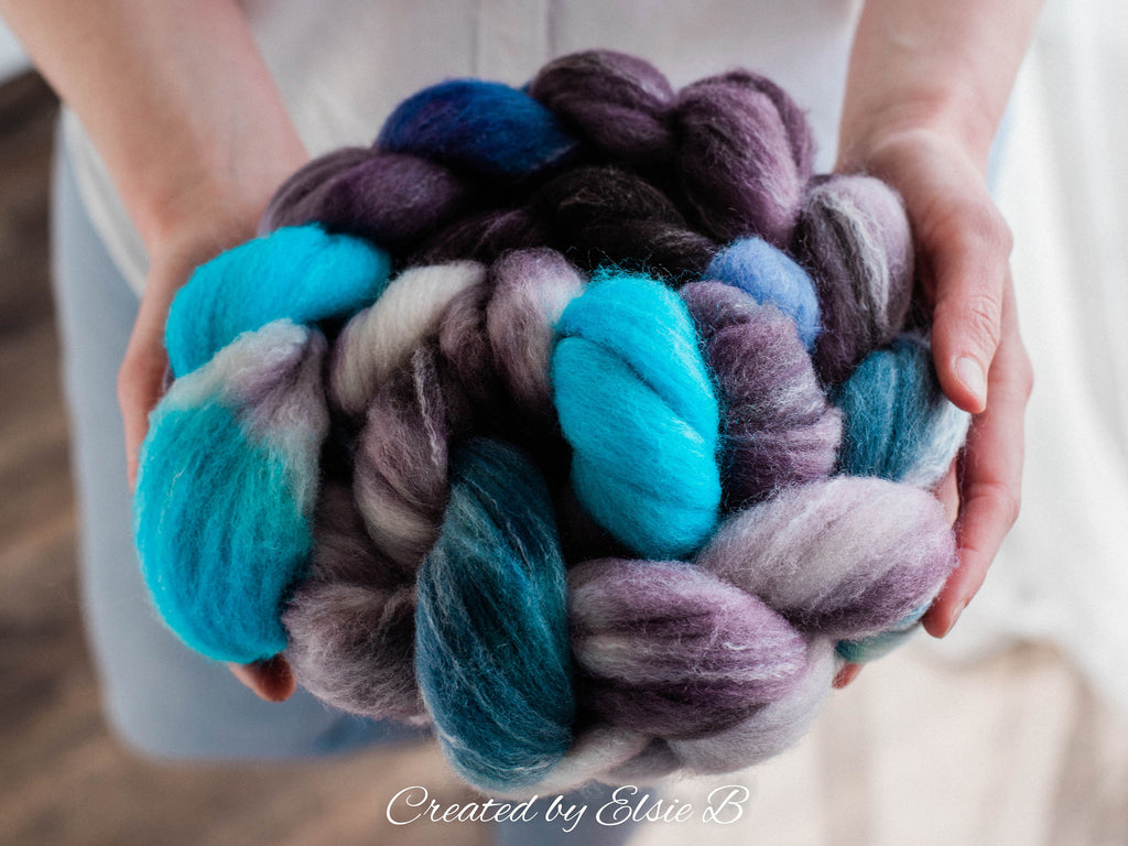 Targhee/ Bamboo/ Silk 'Wisp' 4 oz hand dyed gray wool silk roving for spinning, CreatedbyElsieB teal spinning fiber, blue wool combed top