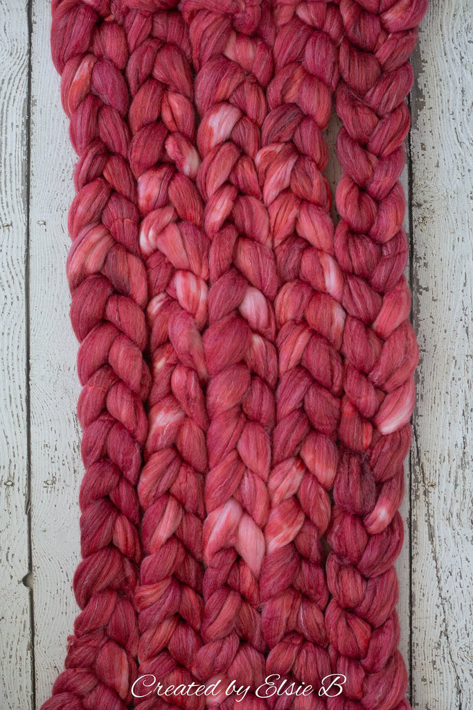 SALE*** SW Merino/ Bamboo/ Nylon 'Cherry' 4 oz semi-solid red superwash roving, merino combed top, Created by ElsieB hand dyed wool spinning