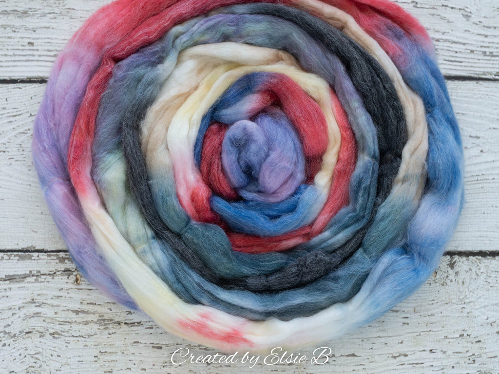 SW Merino/ Bamboo/ Nylon 'Bandana' 4 oz hand dyed red roving for spinning, black spinning fiber superwash roving, blue merino combed top