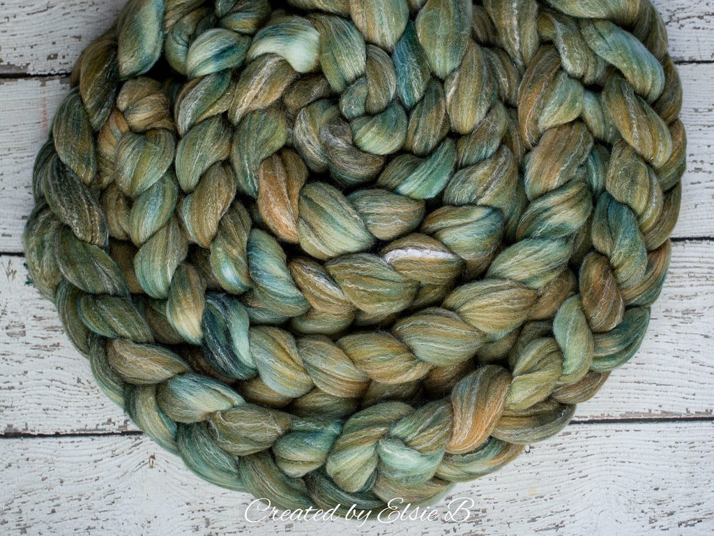 Targhee/ Bamboo/ Silk 'Oak Leaf' 4 oz semi-solid green spinning fiber, hand dyed roving by the pound, Created by Elsie B wool combed top