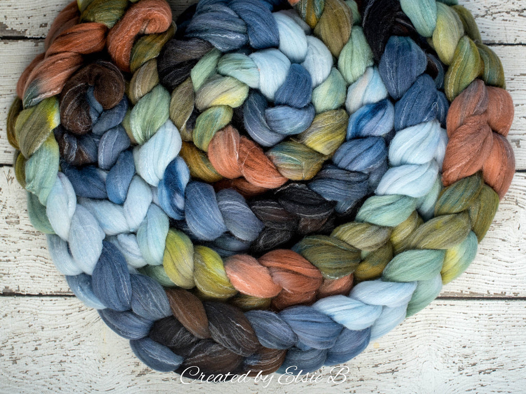 Targhee/ Bamboo/ Silk 'Big Sky Country' 4 oz green spinning fiber, blue hand dyed roving by the pound, CreatedbyElsieB black wool combed top