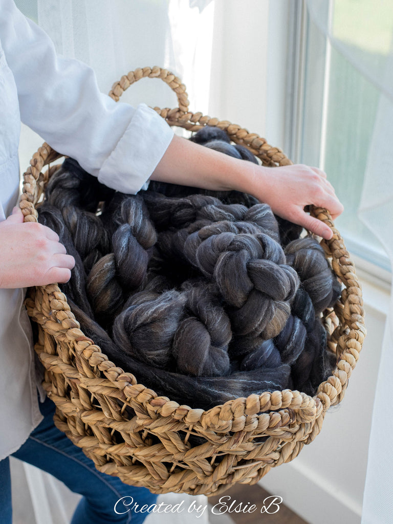 Targhee/ Bamboo/ Silk 'Coal' 4 oz semi-solid black spinning fiber, hand dyed roving by the pound, Created by Elsie B wool combed top