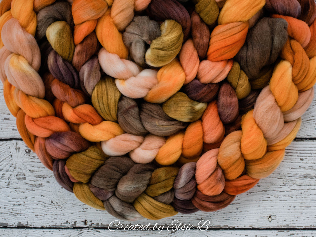 Rambouillet 'Pumpkin Ale' 4 oz hand dyed roving, tan combed top, brown spinning fiber, Created by ElsieB orange wool roving by the pound