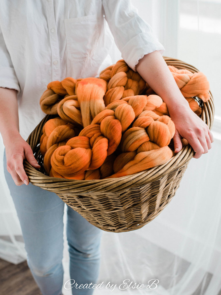 Rambouillet 'Spiced Pumpkin' 4 oz semi-solid spinning fiber, combed top, orange hand dyed roving, Created by ElsieB wool roving by the pound