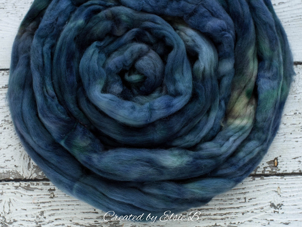 Organic Merino/ Cashmere 'Slate Blue' 4 oz semi-solid combed top, wool roving by the pound hand dyed roving, CreatedbyElsieB spinning fiber