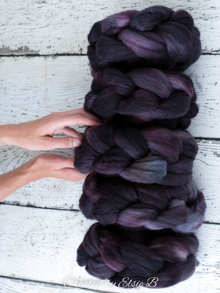 Organic Merino/ Cashmere 'Espresso' 4 oz semi-solid combed top, wool roving by the pound, hand dyed roving, Created by ElsieB spinning fiber